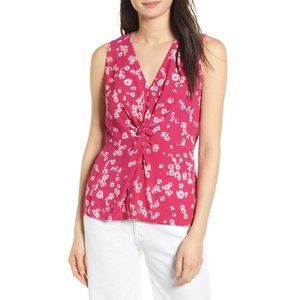 Chelsea28 Pink Floral Twist Front Sleeveless Top S